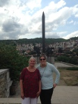 Holly and me in front of Asen's Monument in the center of Velinko Turnover