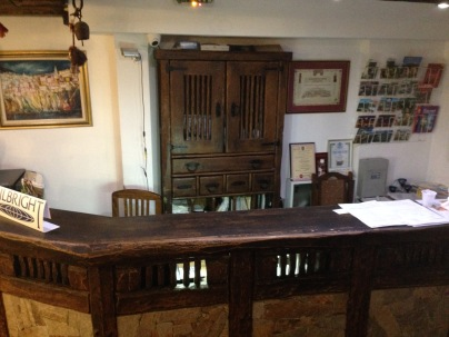 The adorable front desk of the Gurko Hotel
